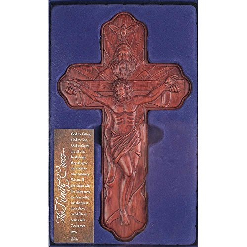 Dicksons Holy Trinity Father Son Spirit Woodgrain Carved 12 Inch Resin Gifting Boxed Wall Cross