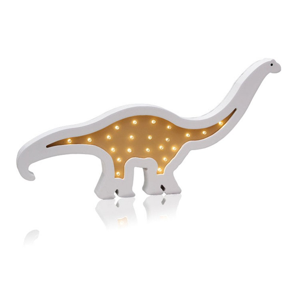 Wooden Dinosaur LED Lights,LiCheng Bridal Romantic Atmosphere Table Lamp Wall Mounted Light Battery Powered Perfect for Kid's Bedroom,Nursery Decor&Gifts 2