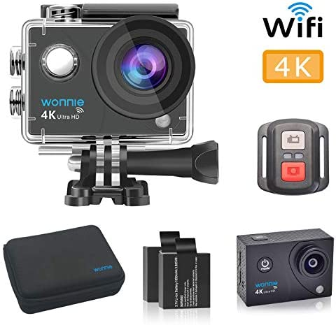 WONNIE 4K Sports Action Camera Ultra HD WiFi Remote Control, 30m Waterproof Camera 170 Wide-Angle Shooting with 2 Pcs Rechargeable Batteries and Accessories Sets
