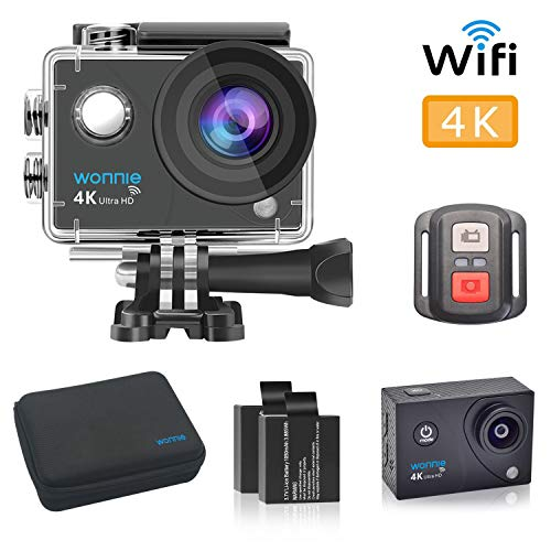 WONNIE 4K Sports Action Camera Ultra HD Wifi Remote Control, 30m Waterproof Camera 170°Wide-Angle Shooting With 2 Pcs Rechargeable Batteries and Accessories Sets from WONNIE