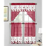 3 Piece Sheer Window Curtain Set: Strawberry Field Embroidery, 2 Tiers, 1 Swag Valance (Burgundy Wine and White)