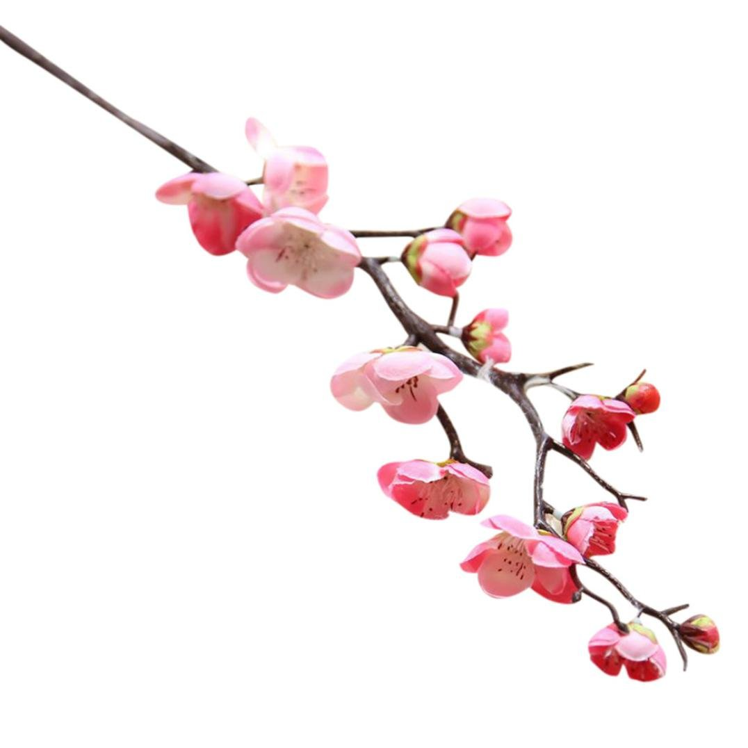 Artificial PE Fake Flowers ,FriendGG Plum Blossom Floral Wedding Bouquet Party Decor Gift for Friend Family Tables in Vast Home and Garden,Office,Coffee,House Decoration (Hot Pink, Length: 60cm)