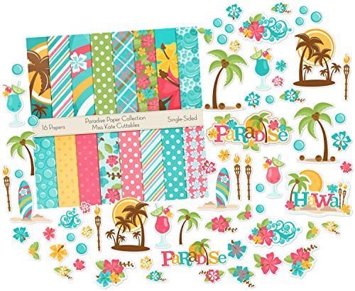 (Die Cuts & Paper Set - Paradise - by Miss Kate Cuttables - 16 Single - Sided 12