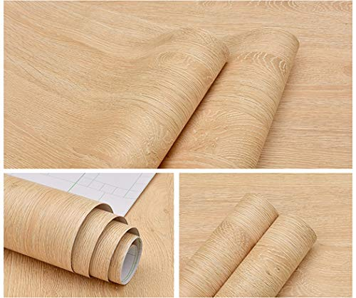 Glow4u Self Adhesive Faux Light Wood Vinyl Contact Paper Kitchen Cabinets Shelves Drawer Cupboards Table Desk Arts Crafts Decal 15.7 x117 inches