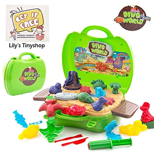 (Deardeer Kids Play Dough Dinosaur Play Set 26 Pcs Pretend Play Toy Kit with Dough and Moulds in a Portable)