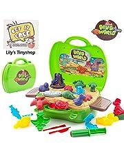 Deardeer 22 Pcs Dinosaur Play Dough Set Creativity DIY Pretend Toy Kit with Dough and Molds for Kids Boys