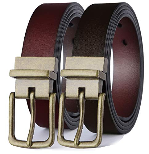Men's Belt, Bulliant Leather Reversible Belt,One Belt Reverse for 2 Colors
