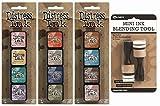 Ranger Tim Holtz Distress Mini Ink Pad Kits 4, 5, 6 and Mini Ink Blending Tool Bundle