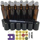 Got Oil Supplies 10ml Glass Roller Bottles For Essential Oils - BONUS 12 Free Emoji Lid Stickers, Rollerball Insert Tool & Pipette - 6 or 12 Packs 10 ml Roll On Balls Bottles (12 Pack, Amber)