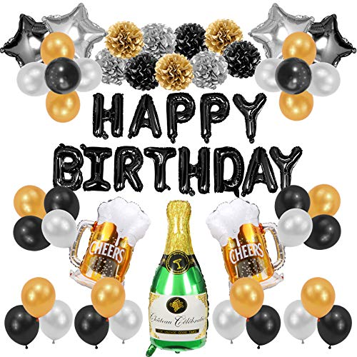 NUZYZ Man Birthday Decorations Boy Birthday Party Supplies Kits Include 63Pcs Paper Pompoms Pentagram Happy Birthday Banner Beer Foil Balloons Gold Black Celebration Gifts for Men.