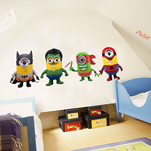 Fangeplus(TM) DIY Removable Minions Despicable Me Super Hero Cartoon Art Mural Vinyl Waterproof Wall Stickers Kids Room Decor Nursery Decal Sticker Wallpaper - Diy Minion