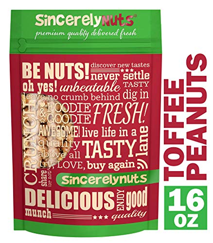 (Sincerely Nuts - Toffee Peanuts | One Lb. Bag | Deluxe Kosher Snack Food | Healthy Source of Protein, Vitamin & Mineral Nutritional Content | Gluten Free Gourmet Quality Nut)