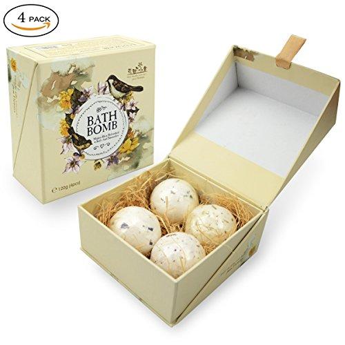 BestFire Bath Bombs Gift Set Kit, 4 x 1.4 Oz Bubble Bath Salts Ball Essential Oil Handmade Spa Bath Bomb Fizzy Best Gift Ideal for Women Men Kids