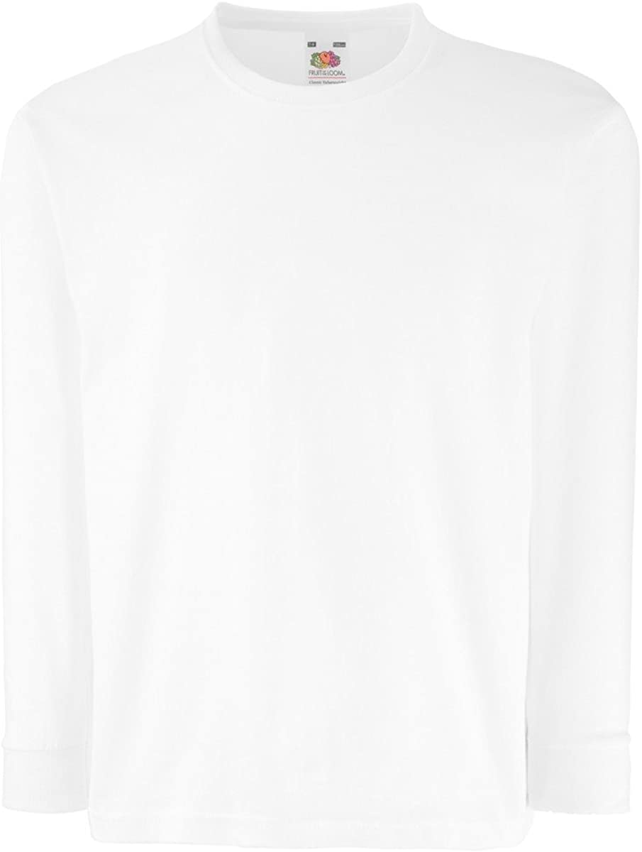 5 COLOURS FRUIT OF THE LOOM CHILDRENS LONG SLEEVE T SHIRT AGE 7//8, WHITE