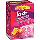Emergen-C Kidz (10 Count, Fruit Punch Flavor) Dietary Supplement Fizzy Drink Mix With 250mg Vitamin C, 0.33 Ounce Packets, Caffeine Free