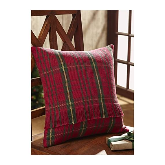 """VHC Brands Jasper 16"""" x 16"""" Woven Pillow Case in Green and Tan - Finish: Red, Tan, Green Materials: 100% Cotton Shell Single fabric - living-room-soft-furnishings, living-room, decorative-pillows - 51omnISMbTL. SS570  -"""