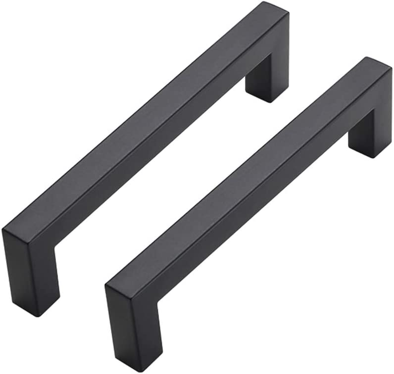 30Pack 5in Cabinet Handles Matte Black Cabinet Pulls - goldenwarm LSJ12BK Kitchen Square Drawer Pulls Black Kitchen Cabinet Hardware Kitchen Handles for Cabinets Cupboard Handles Drawer Handles