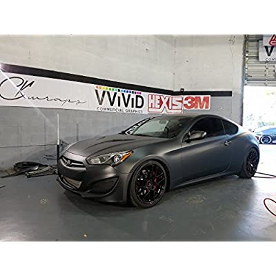 VViViD+ Matte Metallic Black Vinyl Wrap (1ft x 5ft): Automotive