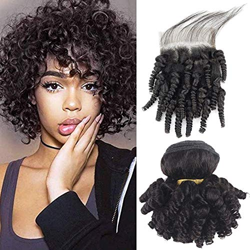 Kaibeilu Funmi Curly Human Hair Bundles With Closure Brazilian Aunty Bouncy Curl Hair Afro Kinkys Curly Hair Weave With Closure Short Bob Hairstyles Spring Curls Hair Extensions With Closure(F8 8 8+8)