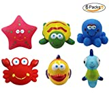 BabyPrice 6Pcs Baby Squirt Bath Toys BPA-free, Bathtime Fun Tub Toys Sea Animals Shower Squirter Toys for Toddlers, Kids.