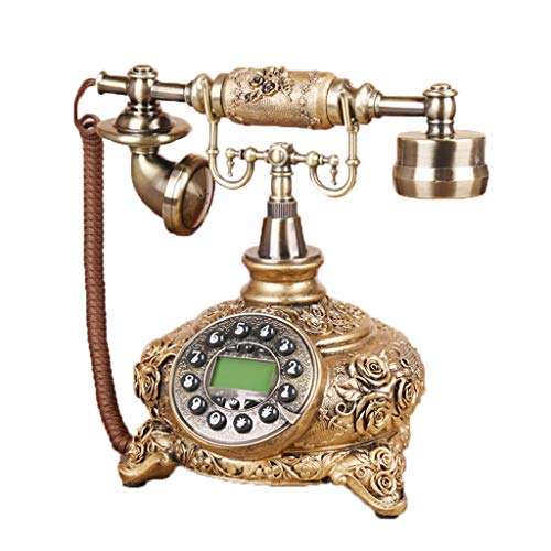 European Style Living Room Retro Fixed Telephone Engraving Rose Home Decorations Ornaments Craft Wedding Gift Bedroom Living Room Cafe Landline from YQL