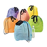Fun Express - Nylon Mesh Beach Bag - Apparel Accessories - Totes - Plain Backpacks - 12 Pieces