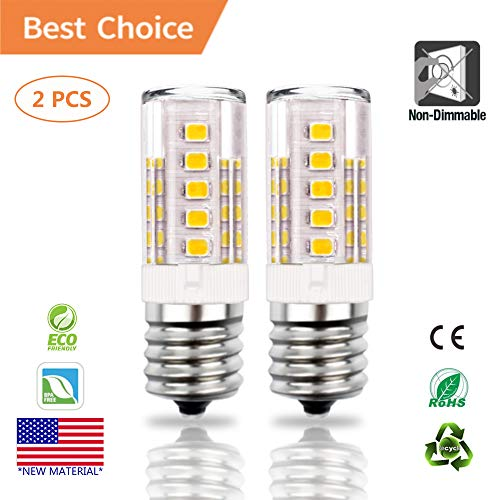 E17 LED Bulb, Akindoo 4W Microwave Oven Appliance Light Bulbs, 40W Halogen Bulb Equivalent, 400LM, Non-Dimmable Corn Bulbs for Over The Counter Range Hood, Warm White 3000K(2 Pack) (Bulb 40 For Hood Range Watt Light)
