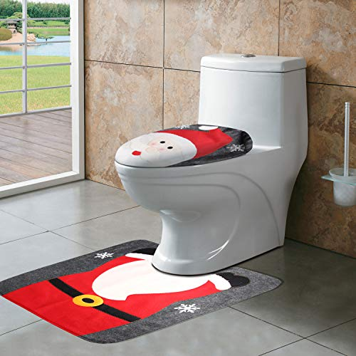 CrtWorld Christmas Toilet Seat Cover and Rug Set Santa Toilet Seat Cover for Christmas Bathroom Sets(Santa Claus Toilet Cover)