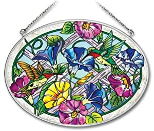 Amia 41715 Hand-painted Large Oval Suncatcher Glass, 9 By 6-1/2-inch, Hummingbird And Floral Design
