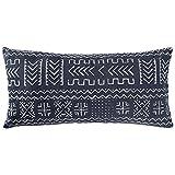 Rivet Mudcloth-Inspired Pillow, 12'' x 24'', Navy