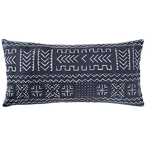 "Rivet Mudcloth-Inspired Pillow, 12"" x 24"", Navy"