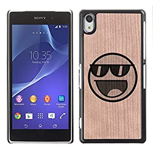 - / Cool Smiley Face Sunglasses - - Funda Delgada Cubierta Case Cover de Madera / FOR Sony Xperia Z2 L50t L50W L50U / Jordan Colourful Shop/