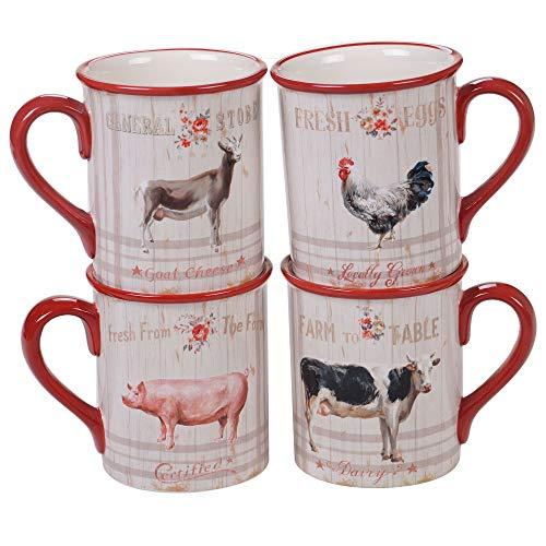 Certified International 26732SET4 Famhouse 16 oz. Mugs,Set of 4 Assorted Designs