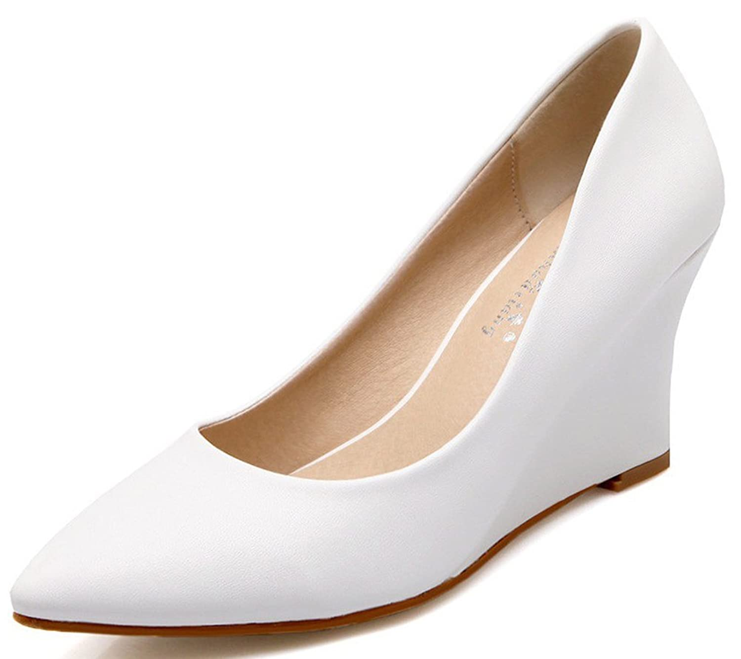 IDIFU Women's Sexy Mid Heel Wedge Shoes Pointed Toe Closed Slip On Low Top Pumps