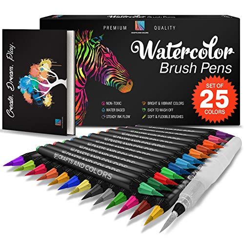 Watercolor Brush Pens Set of 26 - 25 Vibrant Markers with Bonus 1 Refillable Water Brush Pen, Paper Pad and Carry Case - Non-Toxic Safe & Fun Watercolors in Gift ()