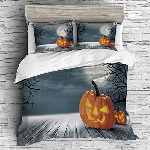 3 Pieces/All Seasons/Home Comforter Bedding Sets Duvet Cover Sets for Adult Kids/Queen/Halloween,Cold Foggy Night Dramatic Full Moon Pumpkins on Wood Board Trees Print,G ()
