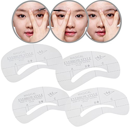 Reusable Professional Set of Eye Brows / Eyebrows Shaping Stencils / Grooming Templates In 4 Different Shapes By VAGA