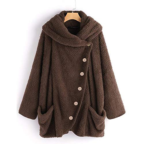 ANJUNIE Turtleneck Pullover for Women Casual Solid Cloak Vintage Coats with Big Pockets (Dark Gray,S) ()