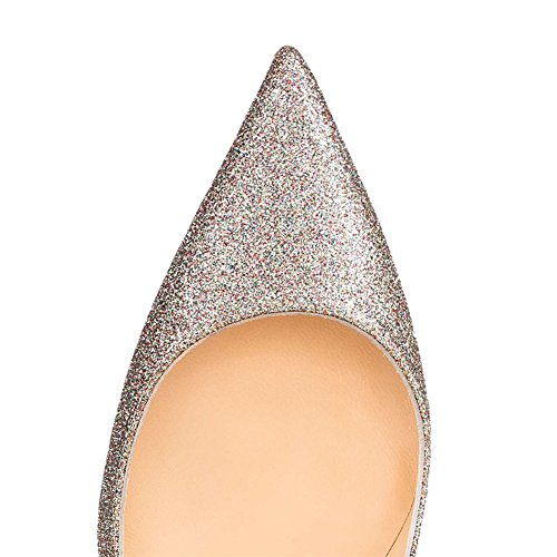 Toe Party Usual Patent Heel Silver Pumps Pointed MERUMOTE Women's glitter Dress High Stiletto Leather 120MM qZzEfUv