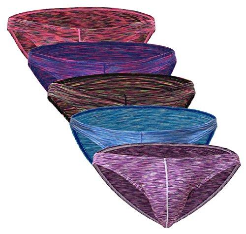 Mens Classic Briefs Stretch Sexy Comfort Underwear 5-Pack Purple Red-Blue-Dark Black-Special Red-Rose Medium (Mens Frozen Underwear)