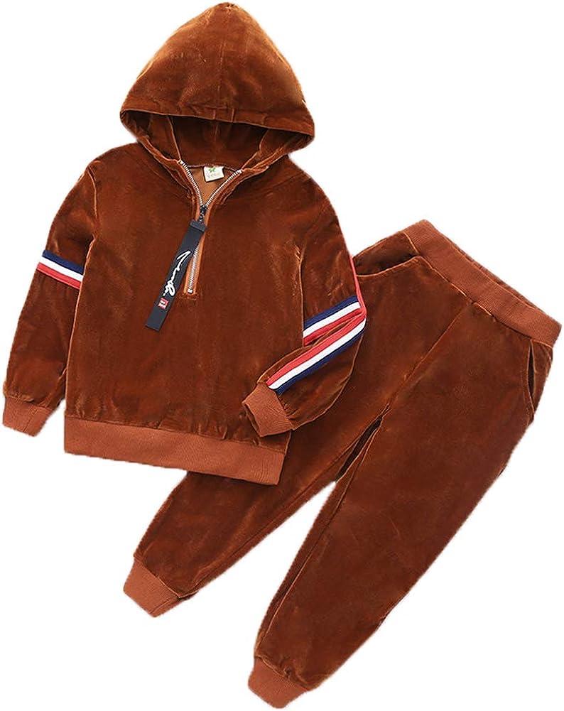 Monvecle Toddler to Big Boys 2pcs Warm Velour Hoodie Tracksuit Top Sweatpant Fleece Jogger Sets