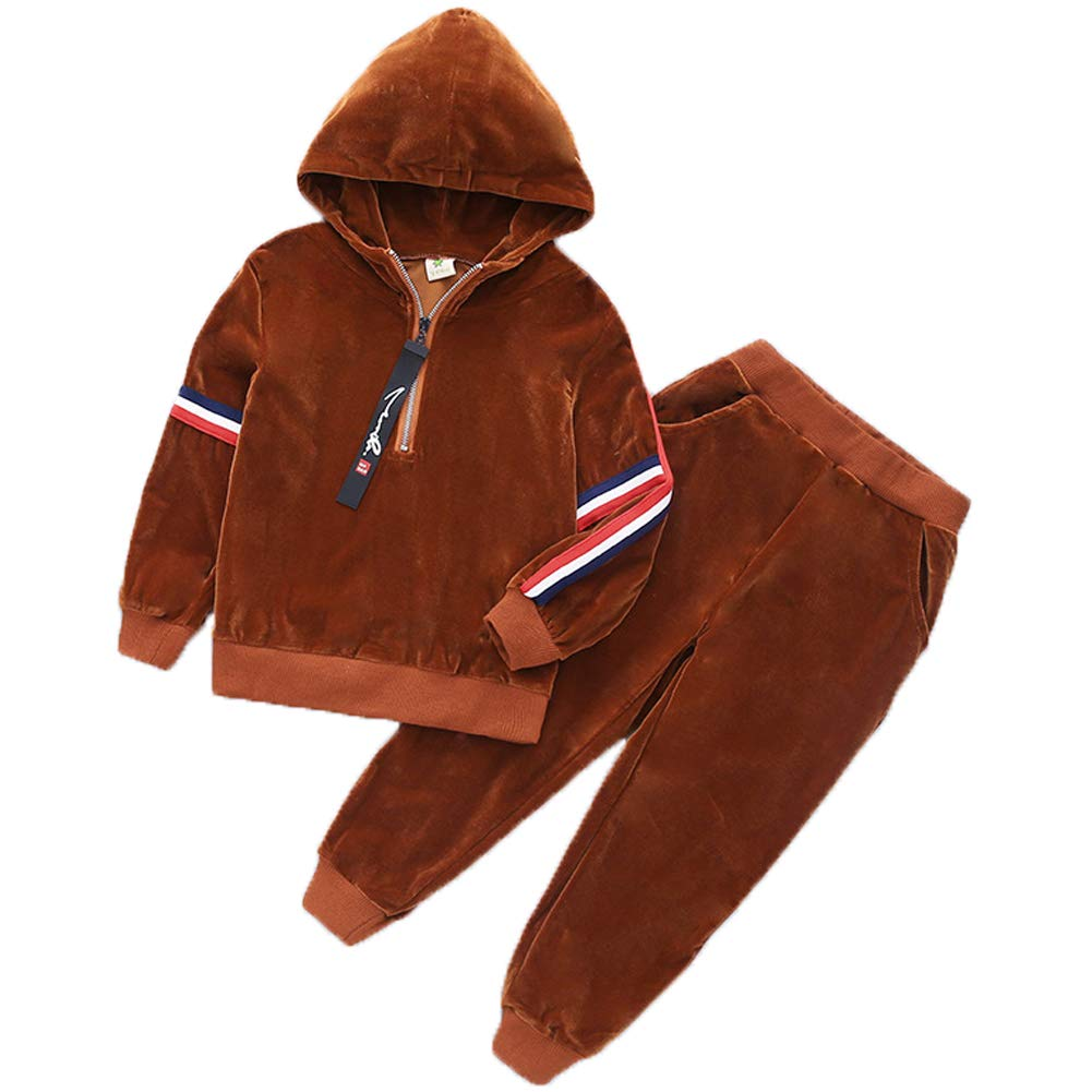 Boys' 2 Piece Long Sleeve Soft Velour Zip Hoodie Tracksuit Top + Sweatpant Jog Sets Monvecle