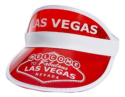 Red Las Vegas Poker Dealer Bingo Plastic Clear Visor Hat Fear & Loathing -