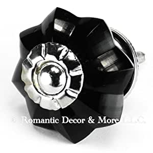 Black Melon Glass Cabinet Knobs, Drawer Pulls & Handles Set/10pc ~ K180RL Classic Old French Vintage Melon Style Glass Knobs with Chrome Hardware for Cabinets, Dressers, Kitchen Cabinets and Cupboards