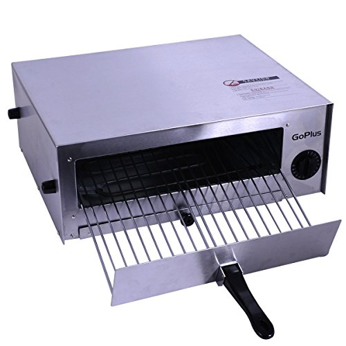 Goplus Pizza Oven, Stainless Steel Pizza Maker Machine, Pizza Baker W/ Snack Pan, Snack Maker, Counter Top, For Commercial and Home