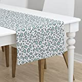 Table Runner - Animal Print Leopard Cheetah Pastel Mint Cougar by Charlottewinter - Cotton Sateen Table Runner 16 x 90