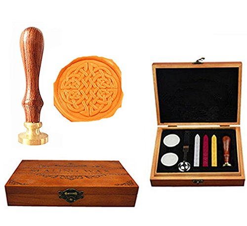 MNYR Vintage Decorative Cetic Knot Luxury Wood Box Art Wax Seal Sealing Stamp Decorative Wedding Invitations Gift Cards Paper Stationary Envelope Custom Picture Wax Seal Sealing Stamp Set (Cetic Knot)