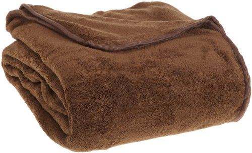 All Seasons Collection Micro Fleece Plush Solid F/Q Blanket, Chocolate