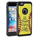 iphone 6 protective case softball - iPhone 6 Plus Case,iPhone 6S Plus Case,Rossy Softball Christian Bible Verse Proverbs 31:25 Quotes Shock-Absorption Hybrid Dual Layer Armor Defender Protective Case Cove for Apple iPhone 6/6S Plus