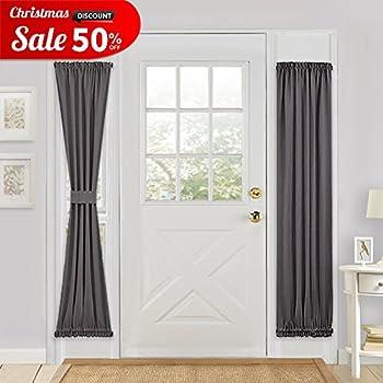 Grey Blackout French Door Curtain   PONY DANCE Energy Saving Thermal  Insulated Window Drapery / Door